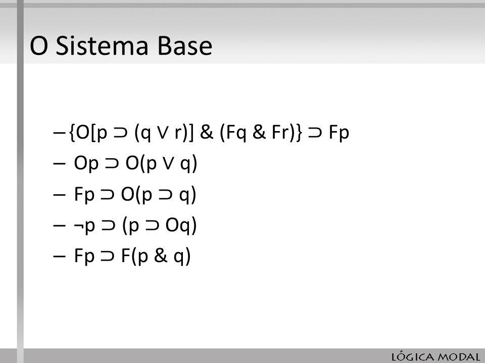 O Sistema Base {O[p ⊃ (q ∨ r)] & (Fq & Fr)} ⊃ Fp Op ⊃ O(p ∨ q)